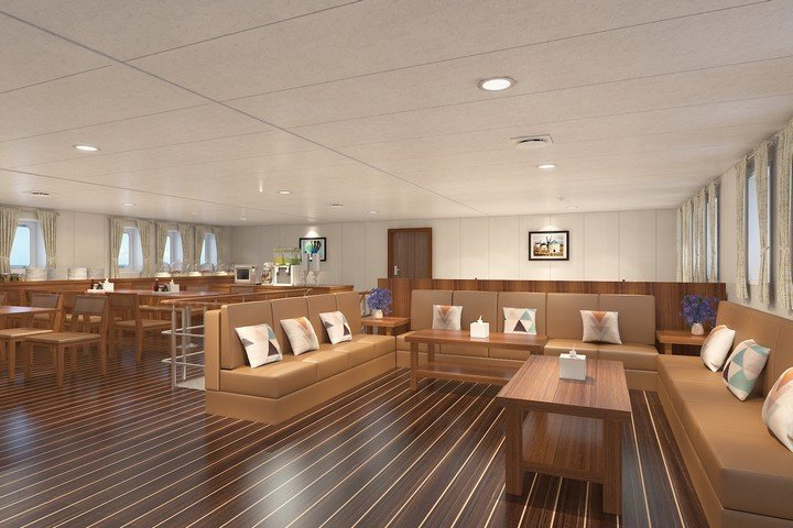 White Manta liveaboard - saloon and indoor dining